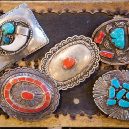 Silver, coral and turquoise belt buckles