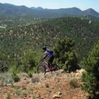 A mountain biker in the foothills of Santa Fe, New Mexico