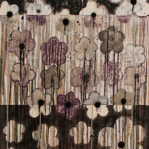 Helen K. Tindel, Thunder Blooms, acrylic and oil pastel on panel, 39 x 24.5 inches. Courtesy of the artist.