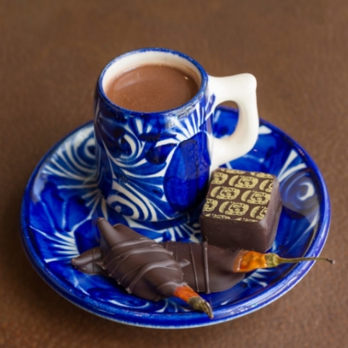 Hot chocolate and chocolate-dipped chiles