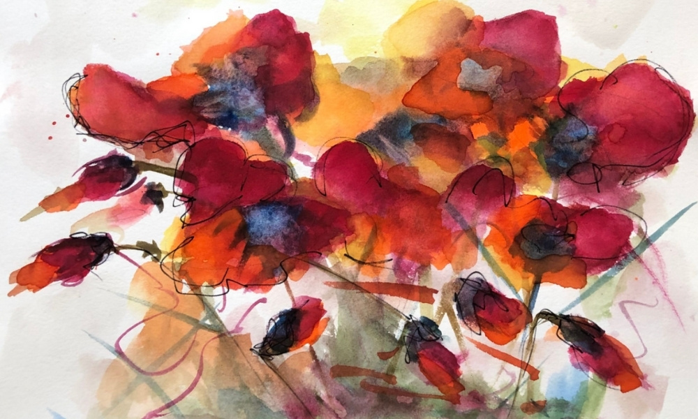 A cheerful watercolor by Denise Andes