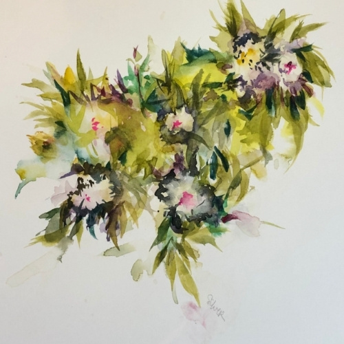A watercolor bouquet by Melinda Silver, 8 x 10 inches.