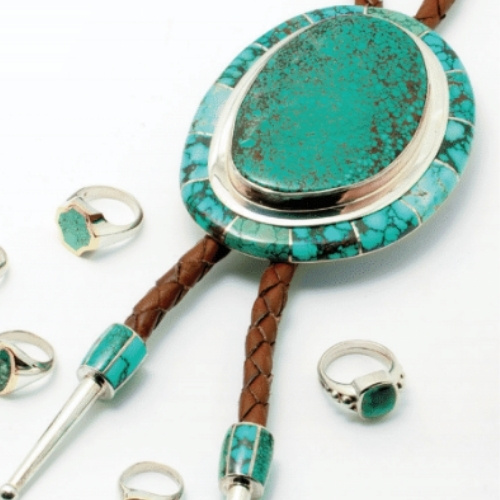 A turquoise bolo tie by James Kallas Jewelers