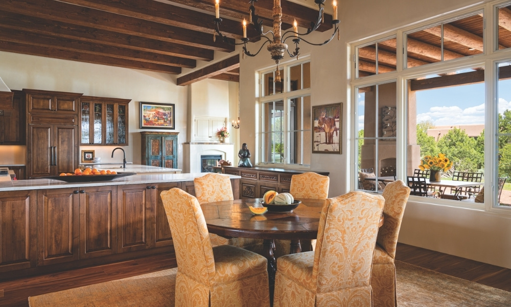 An informal dining area adjoins the open-concept kitchen.